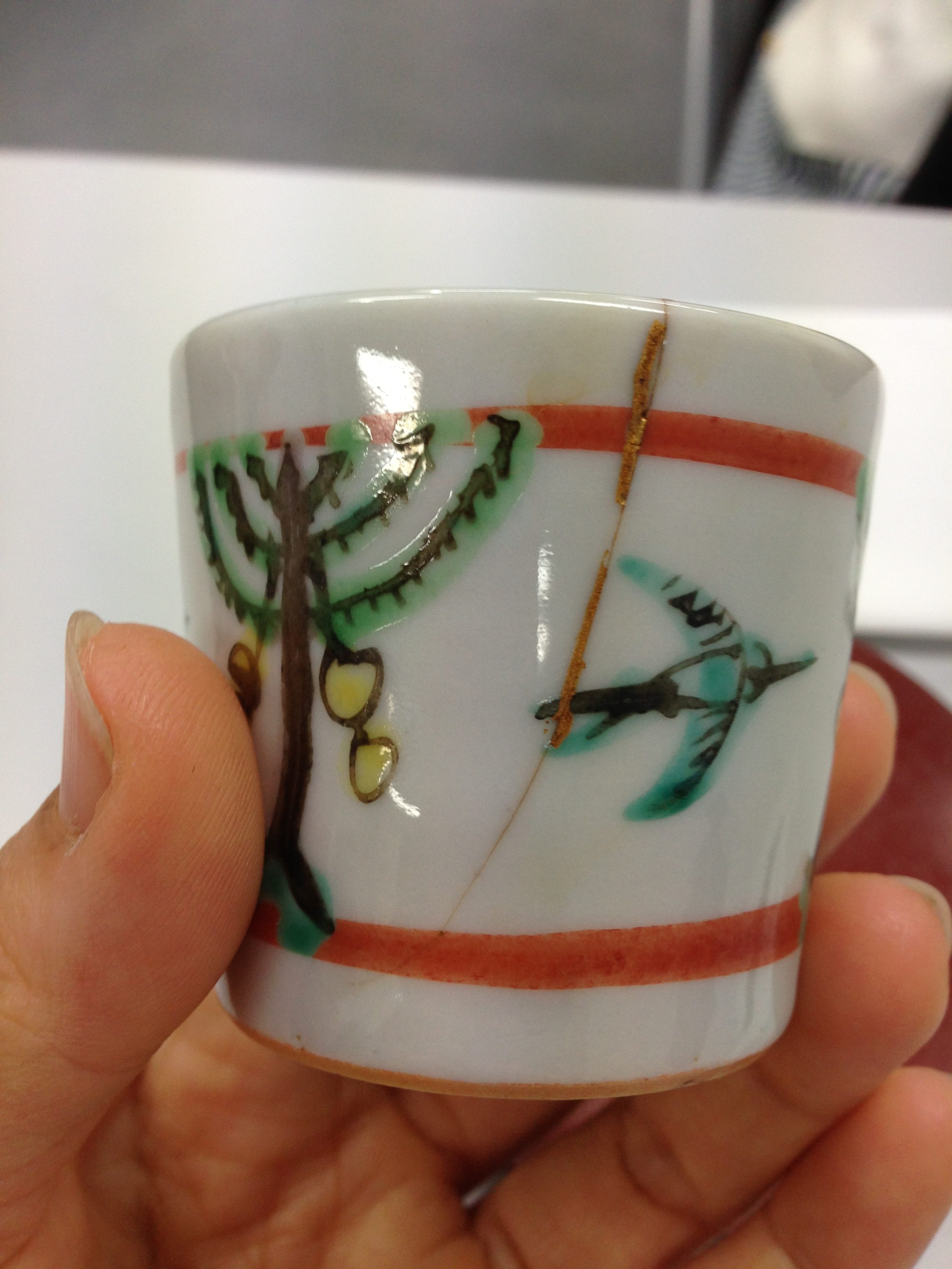 A Japanese cup reinforced with gold